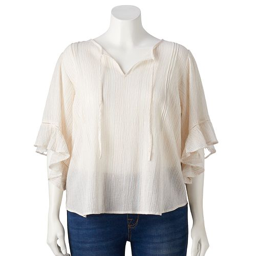 Plus Size LC Lauren Conrad Flounce Sleeve Top