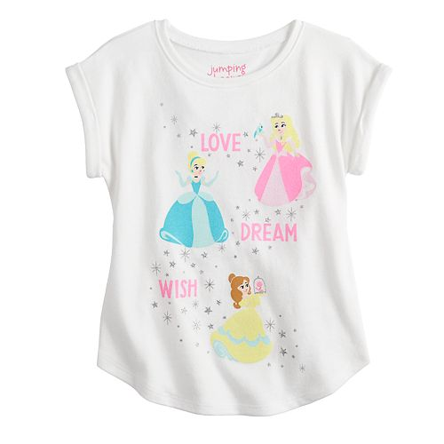 Disney Princesses Belle, Aurora & Cinderella Toddler Girl Glittery Graphic Tee by Jumping Beans®