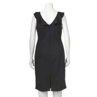Juniors' Plus Size Wrapper Ruffle Ponte Midi Dress