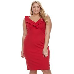 Juniors' Plus Size Wrapper Ruffle Ponte Midi Dress