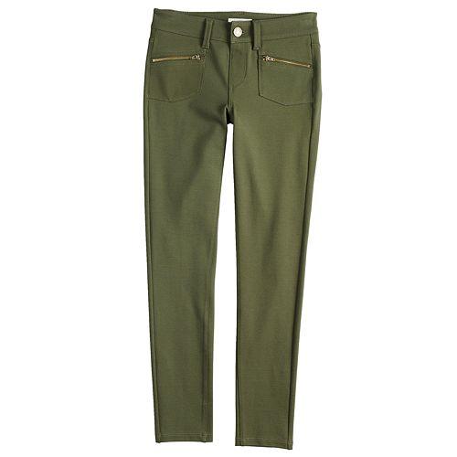 Girls' 7-16 Mudd® Zipper-Pocket Ponte Skinny Pants