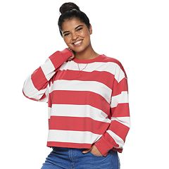 Juniors' Plus Size SO® Striped Crewneck Top