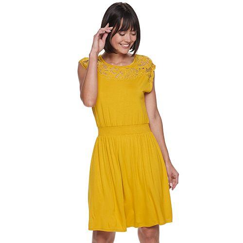 Petite Apt. 9® Lace Yoke Smock-Waist Dress