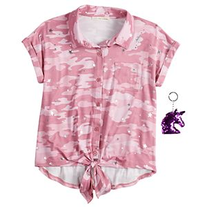 Girls 7-16 Self Esteem Printed Knot Hem Tee & Keychain Set