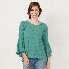 Petite LC Lauren Conrad Ruffle Sleeve Split-Back Top