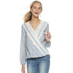 Juniors' Hint of Mint Long Sleeve Crochet Surplice Peasant Top