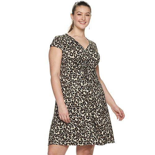 Juniors' Plus Size Mudd® Short Sleeve Cinch Front Dress