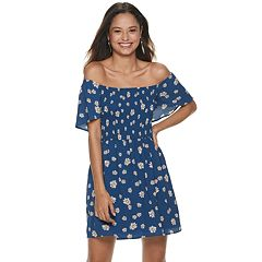 Juniors' Lily Rose Short Sleeve Cinched Waist Printed Dress