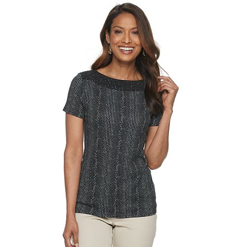 Women's Croft & Barrow® Trimmed Neck Tee