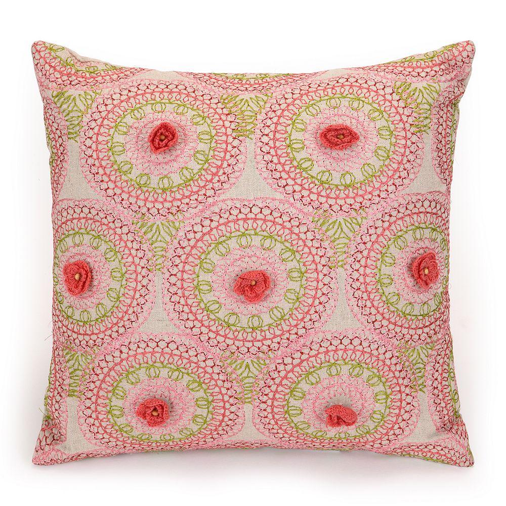 "JS Jessica Simpson Amrita Medallion Crochet Flowers Decorative Pillow - 16"" x 16"""
