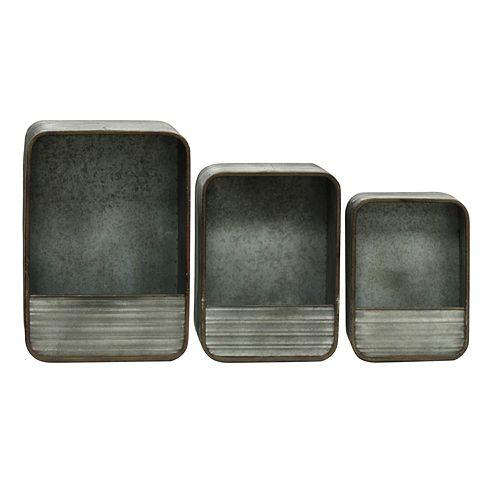 Rectangular Metal Wall Basket 3-piece Set