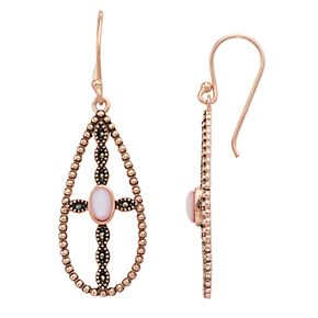 La Belle Vie Marcasite & Mother-of-Pearl Cross Teardrop Earrings