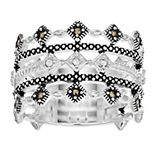 La Belle Vie Marcasite Multi Row Ring
