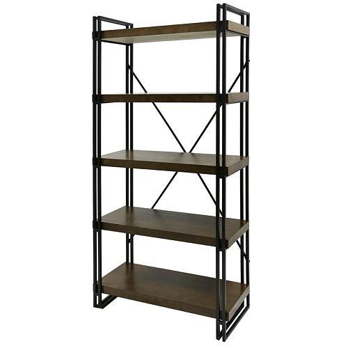 Industrial 5-Shelf Bookshelf
