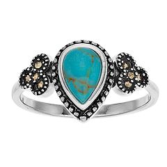 La Belle Vie Marcasite & Turquoise Pear Ring