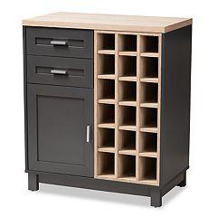 Baxton Studio Maxime Light Brown Wine Cabinet