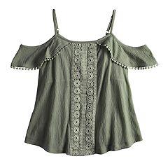 Girls 7-16 & Plus Size Mudd® Crinkle Cold-Shoulder Top