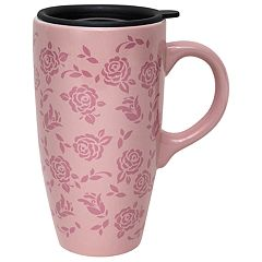 e88bdf38e9e ENCHANTE Pink Floral Lidded Travel Mug