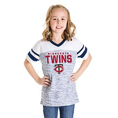Girls 7-16 Minnesota Twins V-Neck Space Dye Jersey Tee