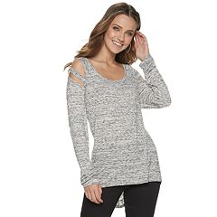 Women's Rock & Repubic Long Sleeve Cutout Raglan Tee