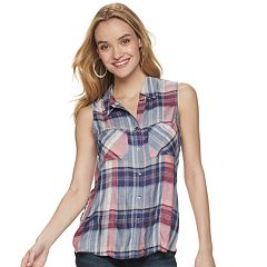 Women's Rock & Republic® 2-pocket Button-Down Tank