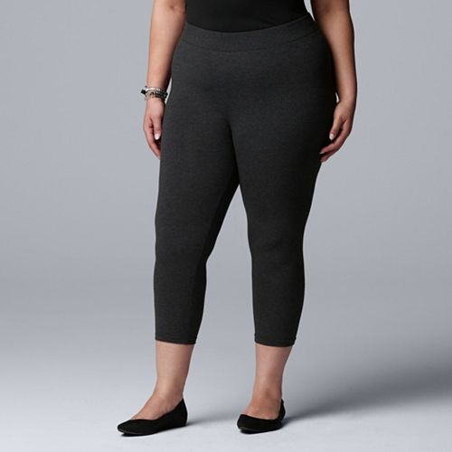 9d7b020f1cf9a3 Plus Size Simply Vera Vera Wang Cotton Capri Leggings