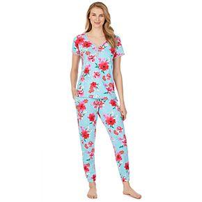 Women's Cuddl Duds Short Sleeve Henley & Jogger Pajama Set