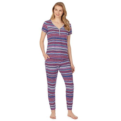 Women's Cuddl Duds Short Sleeve Henley & Jogger Pajama Set