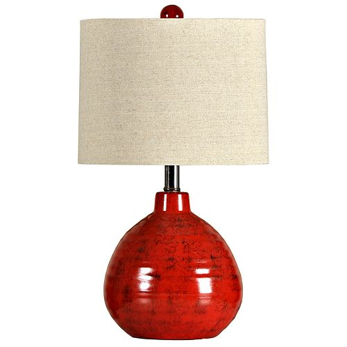 Red Finish Accent Table Lamp