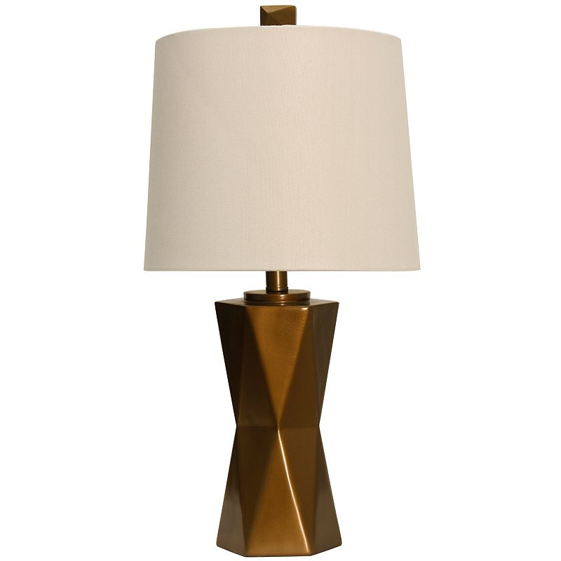 Copper Finish Geometric Table Lamp, Brown
