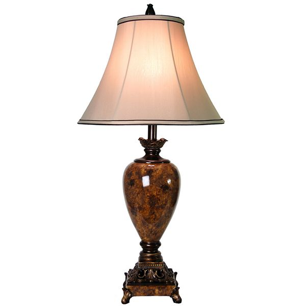 StyleCraft 32 in. Trieste Marble Table Lamp with Taupe Fabric Shade