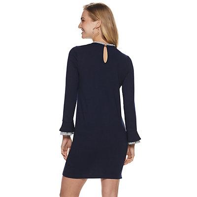 Women's Sharagano Striped-Trim Sweater Dress