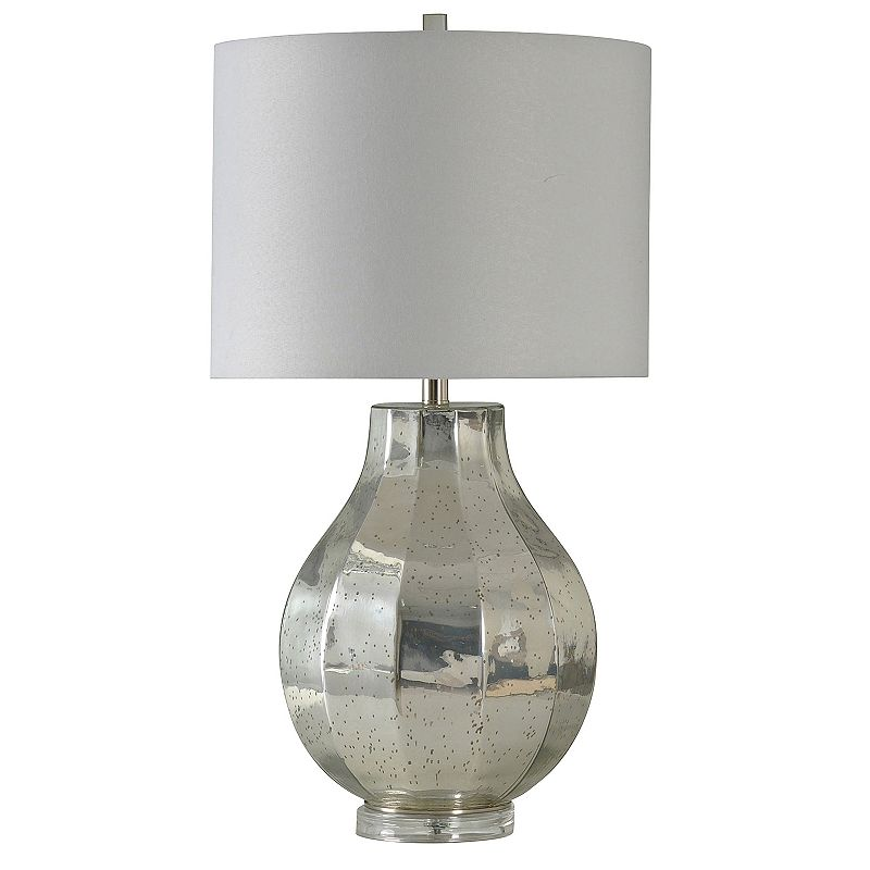 Round Silver Finish Table Lamp, Grey