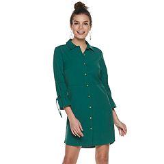 Women's Sharagano Ruched Shirt Dress