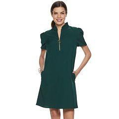Women's Sharagano Zip-Front Ruffle-Collar Dress