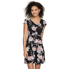 Juniors' Mudd® Short Sleeve Cinch Front Dress
