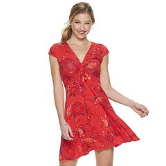 dcfca1de55 Juniors  Mudd® Short Sleeve Cinch Front Dress