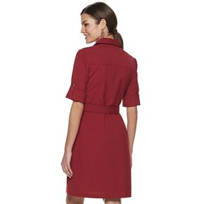 Women's Sharagano Cargo-Pocket Belted Shirt Dress