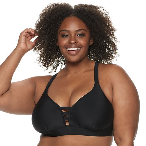 Plus Size EVRI Ladder-Front Triangle Bikini Top