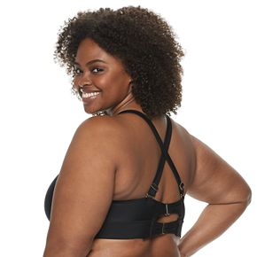 Plus Size EVRI Ladder-Front Triangle Bikini Top