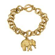 1928 Jewelry Pewter Elephant Charm Toggle Bracelet