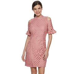 57f6aec496 Women s Sharagano Cold-Shoulder Lace Dress