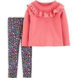 Toddler Girl Carter's 2-Piece Ruffle Top & Floral Legging Set
