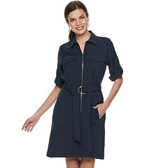 Women's Sharagano Belted Zip-Front Shirt Dress