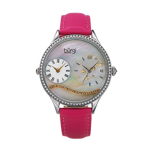 burgi Women's Crystal Accent & Star Stud Dual Time Watch
