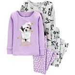 Baby Girl Carter's 4-Piece Dog Snug Fit Cotton PJs