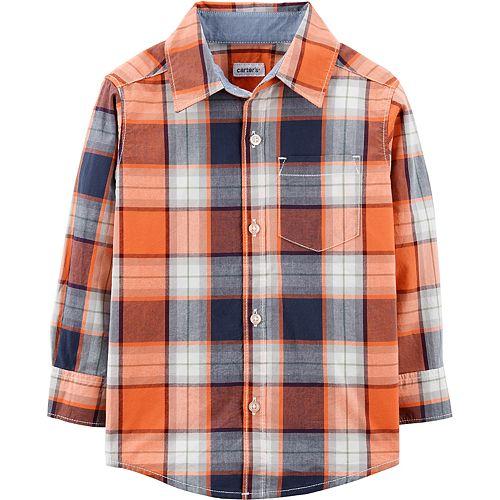 Baby Boy Carter's Orange Plaid Woven Top