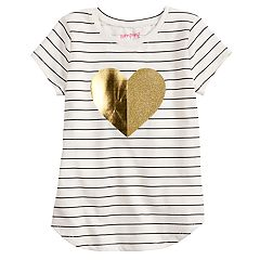 Girls 4-12 Jumping Beans® Glitter Heart Striped Tee