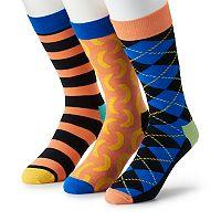 3-Pack Mens HS by Happy Socks Patterned Crew Socks Deals
