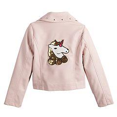 Girls 7-16 C&C Unicorn Faux-Leather Moto Jacket